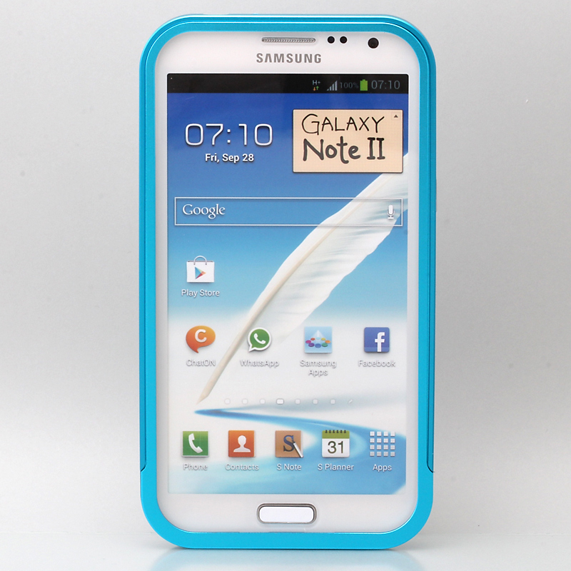 GALAXY NOTE 2 threebeans; Galaxy Note II  SC-02E アルミバンパーケース ライトブルー