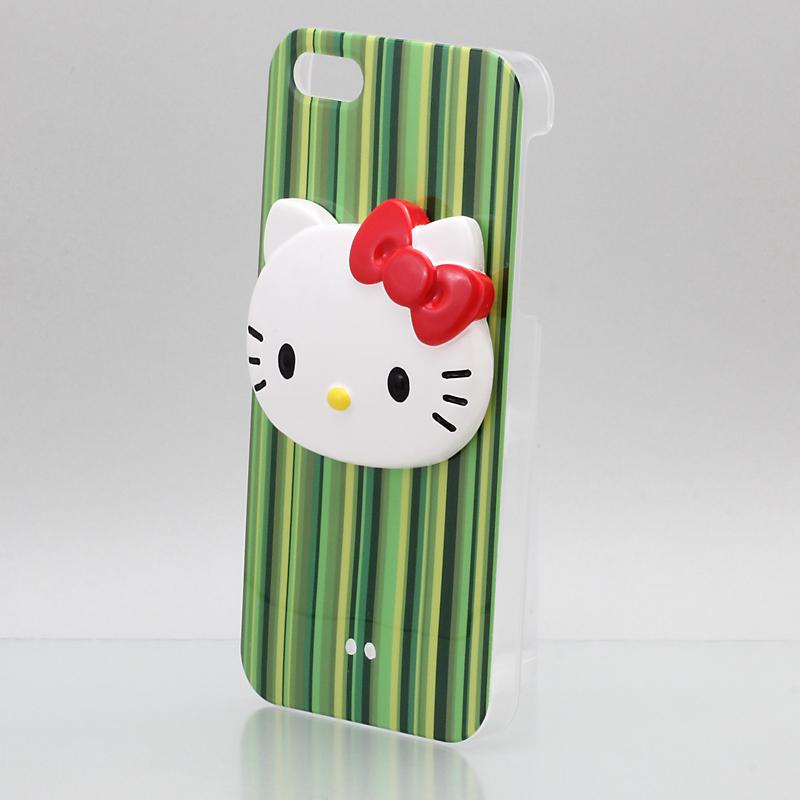 iPhone 5 Threebeans  iPhone5 ケース アイフォン5専用ハードケースカバー ストライプグリーン /ハローキティアイパーツiParts