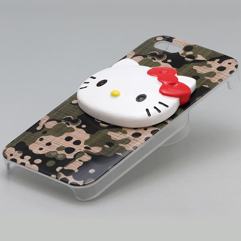 iPhone 5 Threebeans iPhone5 ケース アイフォン5専用ハードケースカバー 迷彩グリーン /ハローキティアイパーツiParts